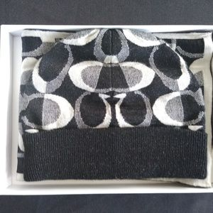 Black Knitted Coach Beanie and Scarf